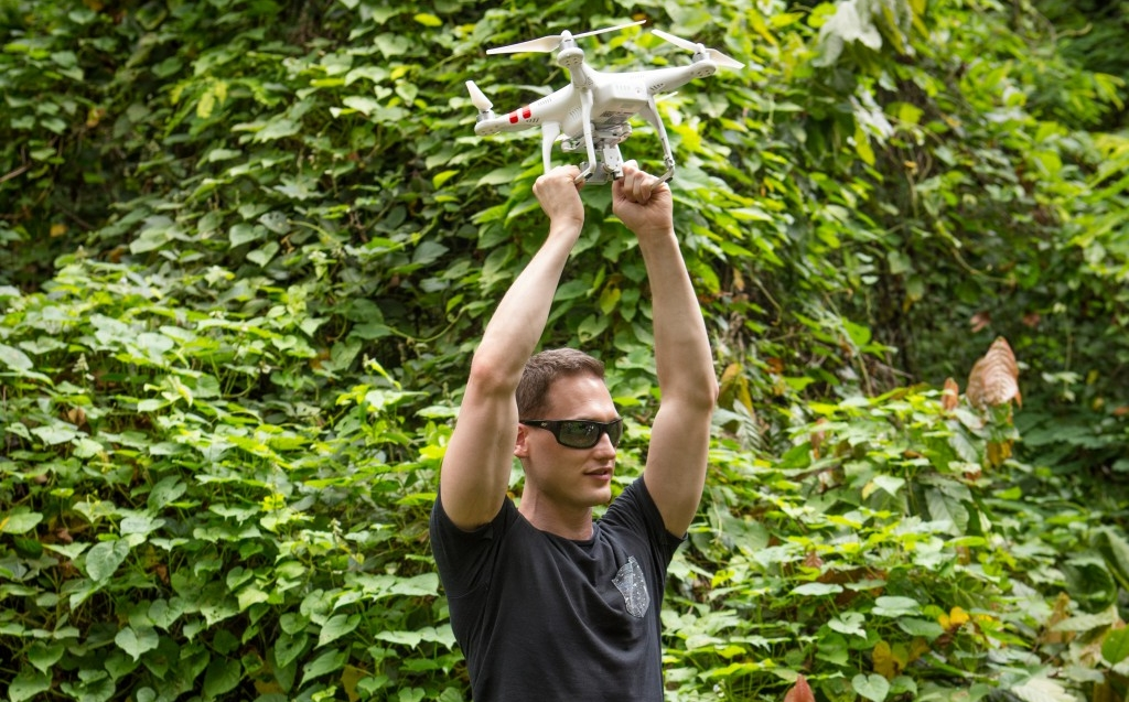Ethan Jackson holds a drone during a feasibility study in Grenada earlier this year.