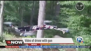 TV News featuring Austin's Gun firing quadcopter