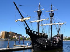 Replica Boat in Tampa Bay, Florida, Walter March 30, 2014