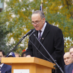 U.S. Senator Chuck Schumer of New York delivers remarks at the Veterans Day Opening Ceremony in Madison Square Park. Photo by Jared King / NNWO., Navajo Nation Washington November 11, 2011