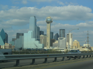 Dallas, Texas Skyline from I-35 Eastbound, Ken Lund March 18, 2004