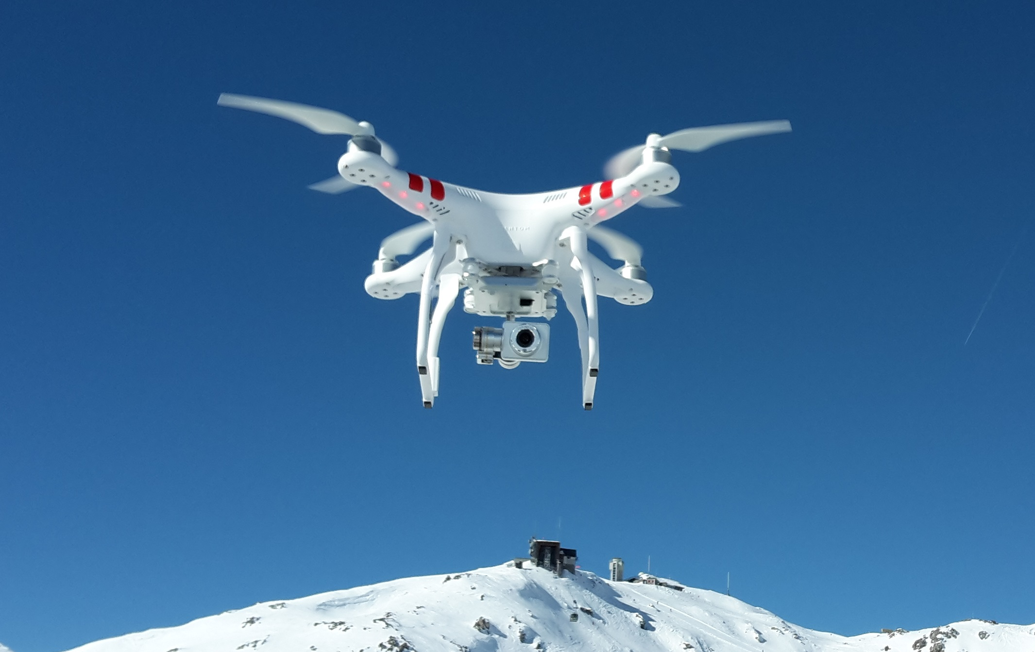 DJI Phantom 2 Vision+ V3 Hovering Over Weissfluhjoch