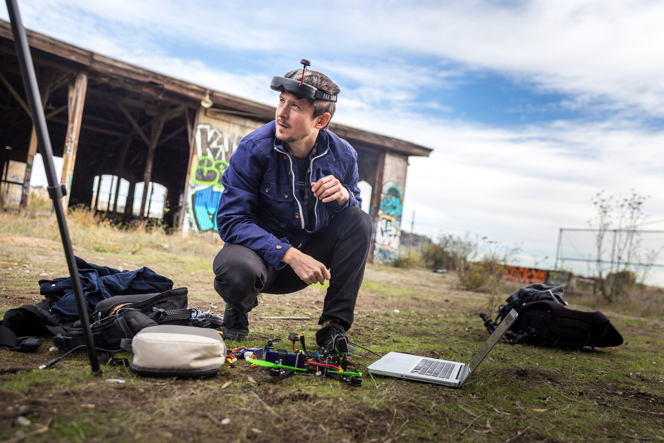 FPV racing pilot with his equipment