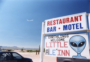 "The Little Al e Inn on the Extraterrestrial Highway across from ""Area 51"", Chico Boomba August 17, 2014"
