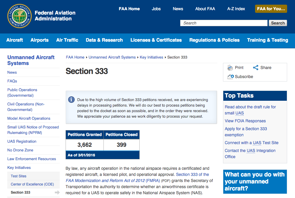 FAA.gov Section 333 Webpage, Credit: FAA.gov