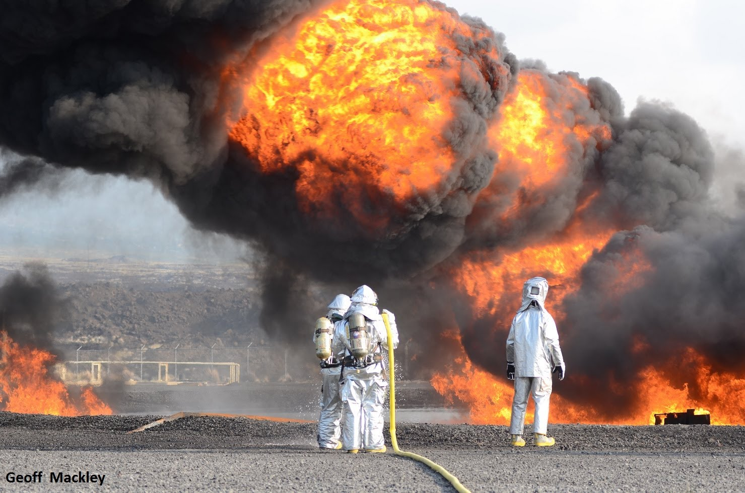 Fire training at Kona Airport, Hawaii, USA with Geoff Mackley, Credit: Geoff Mackley, YouTube