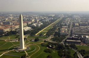 Aerial view of the Washington Monument with the Capitol in the background. DoD photo by Tech. Sgt. Andy Dunaway., Credit: Wikimedia Commons