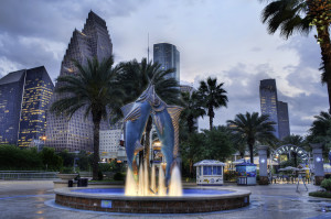 The Downtown Aquarium HDR Houston Skyline Blue Hour Sunset, Katie Haugland March 29, 2012