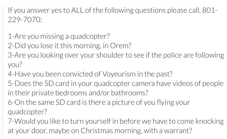 Orem, Utah Police Facebook Posting