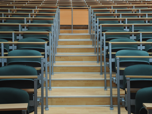 University classroom chairs in row, Credit: Stock Image