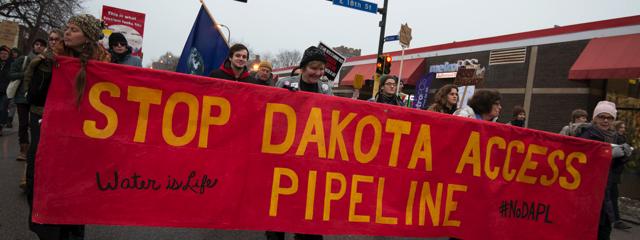 Dakota Access Pipeline protesters against Donald Trump, Fibonacci Blue January 20, 2017